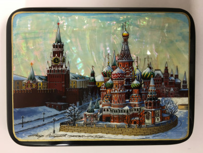 150x110 mm Moscow Snt Basil Cathedral and Red Square hand painted papier-mache lacquered Jewelry Box (by Tatiana Crafts)