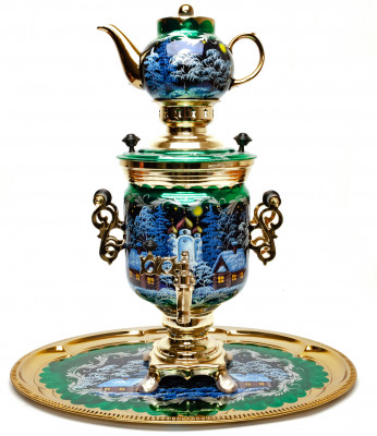 Russian Christmas Night Hand Painted Electric Samovar Kettle with Teapot and Tray