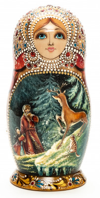 180 mm Russian Fairytale hand painted on Wooden Matryoshka doll 5 pcs (by Natalia Crafts)