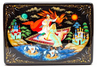 130x90mm The Magic Carpet hand painted lacquered box from Palekh (by Pavel Studio)