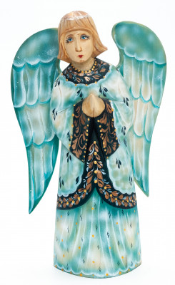 220 mm Angel with Wings hand painted wooden figurine