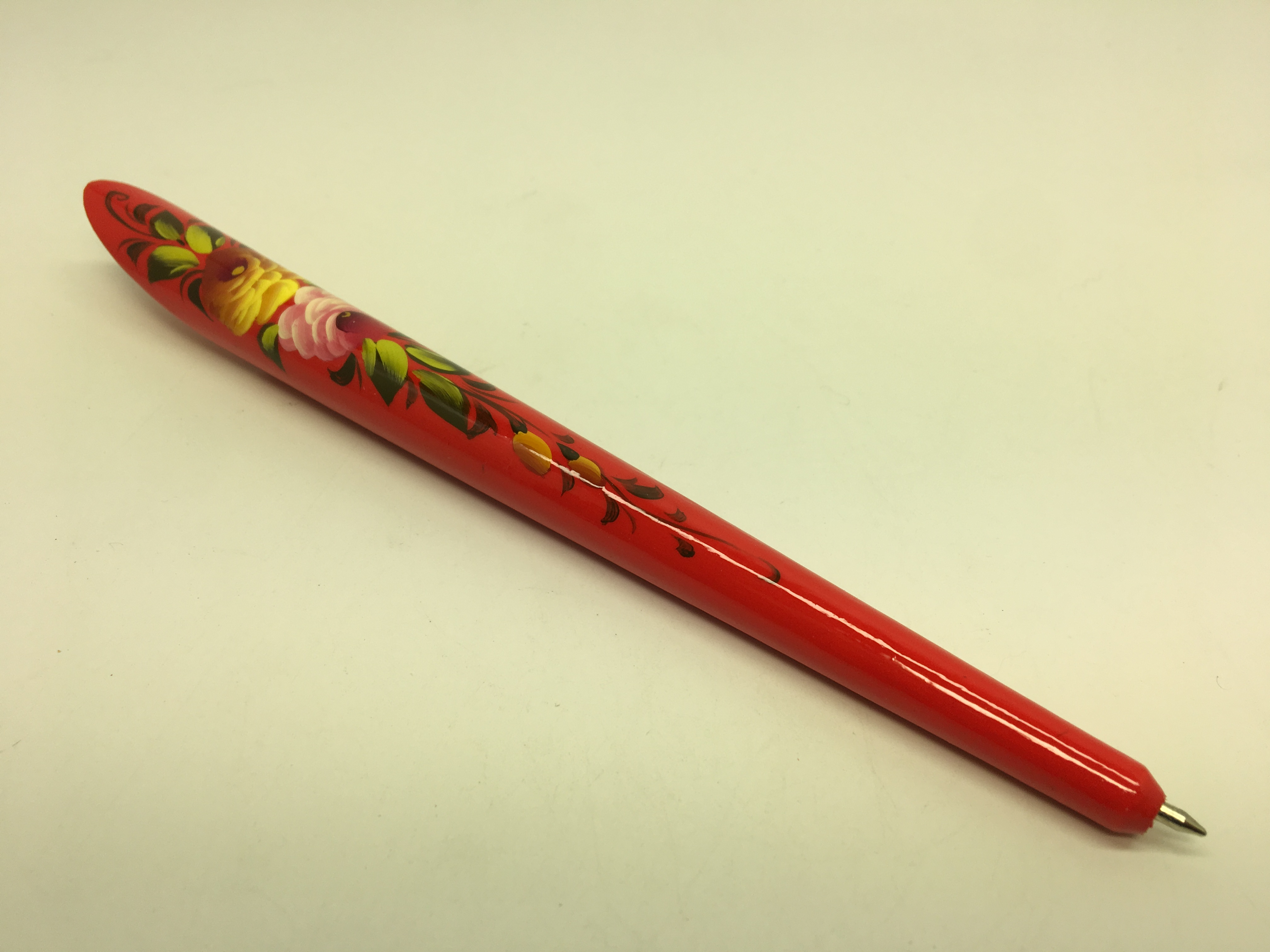175 mm Zhostovo Red hand painted wooden Writing Pen (by Lada Workshop)