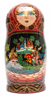 240 mm Ruslan and Lyudmila hand painted on Wooden Matryoshka doll 10 pcs (by Trifinov Studio)