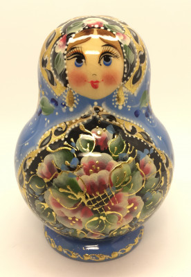110 mm Zhostovo tall hand painted Russian Matryoshka doll 5 pcs (by A Studio)