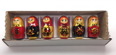 Khokhloma Matryoshka Dolls Christmas Ornaments