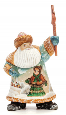 270 mm Santa with a Stick with handpainted Children Wooden Carved Statue (by Igor Carved Wooden Figures Studio)