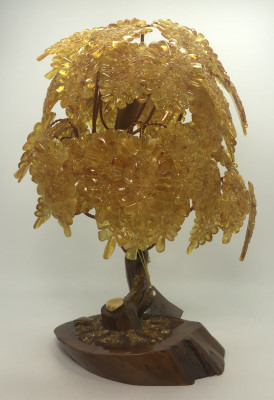 300 mm Amber Jewelry Tree with Leaves (by Russian Amber)