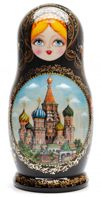 240 mm Moscow Saint Basil Cathedral hand painted Wooden Matryoshka doll 10 pcs (by A Studio)