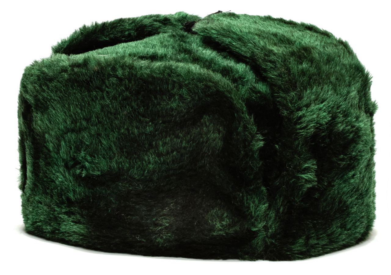 Russian Fur Ushanka Winter Hat (green, any size)