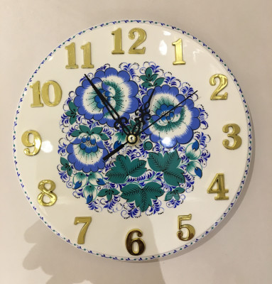 Gzhel handpainted Wall Clock