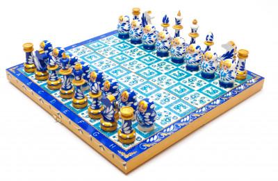 Wooden Chess Board with Gzhel Art Hand Painted Chess Pieces