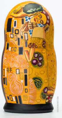 200 mm The Kiss by Gustav Klimt hand painted wooden Matryoshka doll 5 pcs (by A Studio)