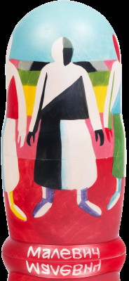 200 mm Girls in the Fields by Malevich hand painted on wooden Russian Matryoshka doll 5 pcs (by Alexander Famous Painting Studio)