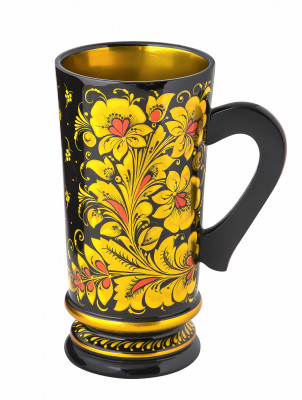 200 mm Tsar hand painted wooden Khokhloma Beer Mug (by Golden Khokhloma)