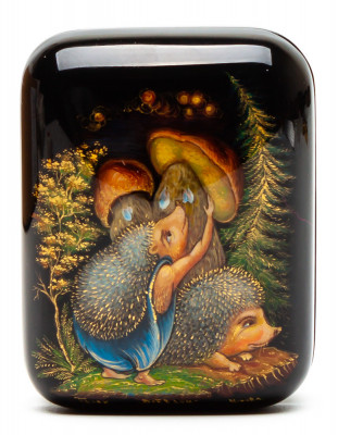 50x70mm The Housewifely hand painted lacquered box from Palekh (by Pavel Studio)