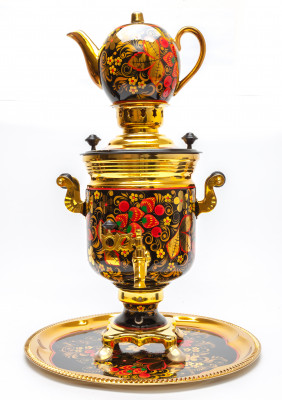 Golden Khokhloma Russian Electric Samovar Kettle with Teapot and Tray AUTO