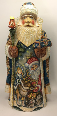 350 mm Santa Claus with a Snow Maiden and a Deer feed Bunnies (Kikin Studio)