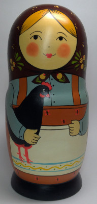 230mm Mistress with Hen hand painted Traditional Russian Wooden Matryoshka doll 7 pcs (by Igor Malyutin)