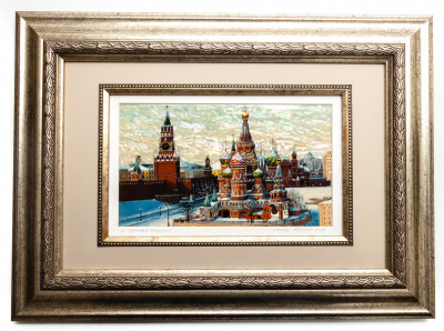 465x340 mm Red Square hand painted on Nacre Fedoscino painting (by Tatiana Fedoscino Arts)