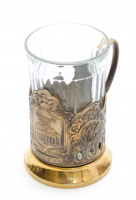 Bolshoi Theatre Pure Brass Tea Glass Holder with Faceted Glass (By Kolchugino)
