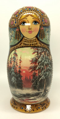 190 mm Winter Forest Landscape hand painted on Wooden Matryoshka doll 5 pcs (by Natalia crafts)