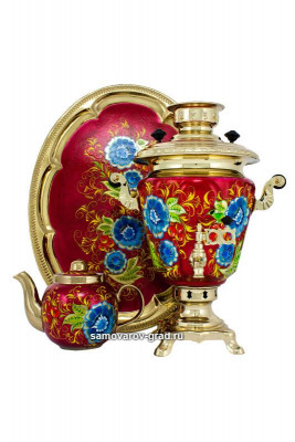Cornflowers Hand Painted Electric Samovar Kettle with Teapot and Tray