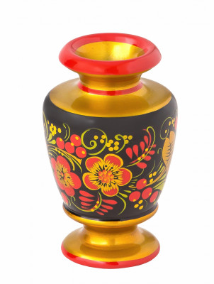 100x60 mm Khokhloma hand painted wooden Vase (by Golden Khokhloma)