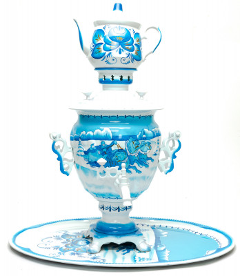 Winter Troika Hand Painted Electric Samovar Kettlewith Teapot and Tray