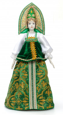 The Princess in a Green Dress hand-sewn Porcelain Doll - 21 Inches