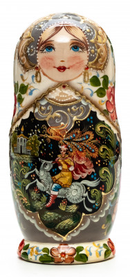 150 mm Russian Patterns hand painted on wooden Matryoshka doll 5 pcs (by A Studio)