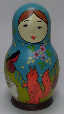 110 mm Mistress with Squirrel hand painted Traditional Russian Wooden Matryoshka doll 5 pcs (by Igor Malyutin)