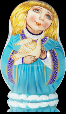 75 mm Angel with Dove hand painted Matryoshka doll 5 pcs (by Vasily Crafts)