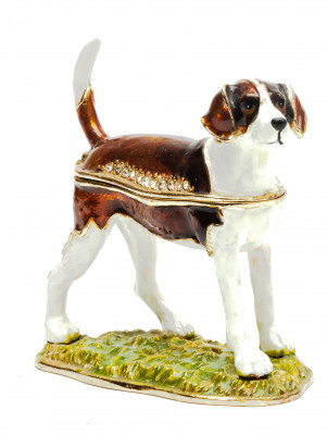 60 mm Beagle on a Stand Jewellery Box