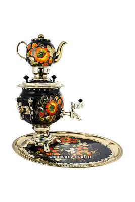 Poppy Hand Painted Electric Samovar Kettlewith Teapot and Tray