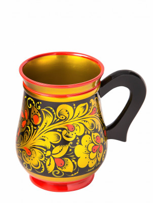 110x85 mm Khokhloma hand painted wooden Mug (by Golden Khokhloma)