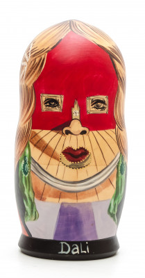 180mm Face of Mae West Which May Be Used as an Apartment by Dali hand painted on wooden Matryoshka doll 5 pcs (by Alexander Famous Paintings Studio)
