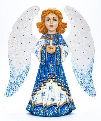 270 mm Mother Angel with Candle hand painted wooden figurine (by Polar Bear Studio)