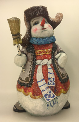25cm Snowman in a Caftan with a Broom Hand Carved Wooden Figure and painted by Karpova Nadezda