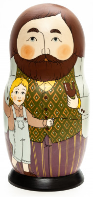 250 mm Father with Son hand painted Traditional Russian Wooden Matryoshka doll 10 pcs (by Igor Malyutin)