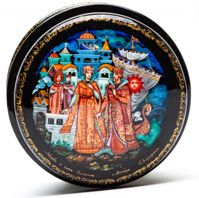 110x90mm The Tale of Tsar Saltan Hand Painted Jewellery Box (by Sadko Workshop)