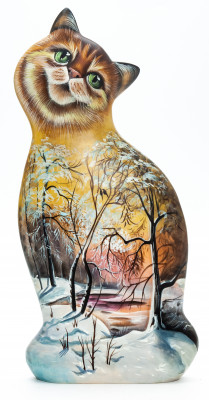 170 mm Cat with hand painted Russian Winter Wooden Statue (by Vladislav Toys)