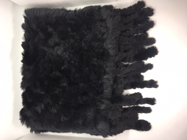 40x180 cm Black Rabbit Hair Knitted Stole