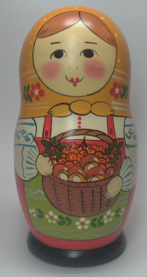 160 mm Maiden with a Basket of Berries and Mushrooms hand painted Traditional Russian Wooden Matryoshka doll 5 pcs (by Igor Malyutin)