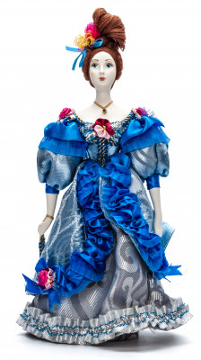 Russian Girl hand made Porcelain Doll in a 19th century Dress with a Fan- 11 Inches (by Le Russe)