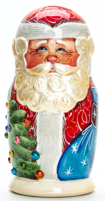170 mm Santa Claus with a Snowmen hand painted wooden Matryoshka Doll 5 pcs inside (by A Studio)