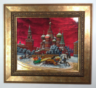 400x360 mm Red Square Saint Basil Church hand painted on Nacre Fedoscino painting (by Tatiana Fedoscino Arts)