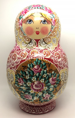 310 mm Russian Patterns hand painted wooden Matryoshka doll 30 pcs inside (by Kudryashova Studio)