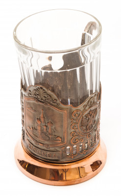 Snt Basil Cathedral Pure Copper Tea Glass Holder with Faceted Glass (by Kolchugino)