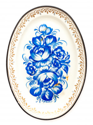 150x215 mm Zhostovo Patterns hand painted and lacquered Metal Forged White Tray (by Lada Crafts)