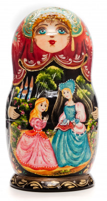 160 mm Cinderella hand painted on Wooden Matryoshka doll 5 pcs (by Valeria Crafts)